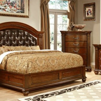 Furniture of america CM7735-7736 5 pc grandom collection cherry finish wood queen bed set with padded and tufted faux leather headboard