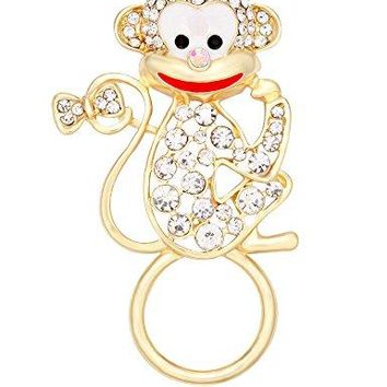 TUSHUO Dainty White Rhinestone Monkey Magnetic Clip Eyeglass Holder Animals Sunglasses Hanger