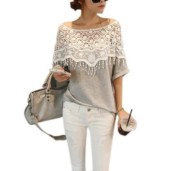 Etosell Lady Lace Cape Collar Blouse Cutout Shirt Crochet Batwing Sleeve OL Tops