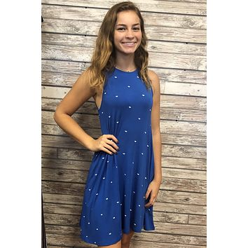 Tiny Gators Dress- Blue