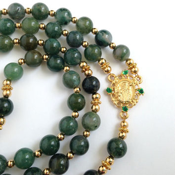 Saint Patrick Rosary, Moss Agate Beads, Catholic Rosary, Shamrock Prayer Beads, Celtic Crucifix, Green Rosary