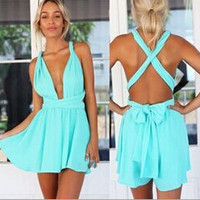 2016 Celebrity Style Women's Deep V Neck Floral chiffon Jumpsuits Playsuits Summer women beach jumpsuits Rompers Blue