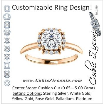 Cubic Zirconia Engagement Ring- The Tiara Rose (Customizable Cushion Cut Design with Thin Band & Semi-Halo)