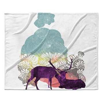 "Frederic Levy-Hadida ""Tenderness"" White Purple Fleece Throw Blanket"