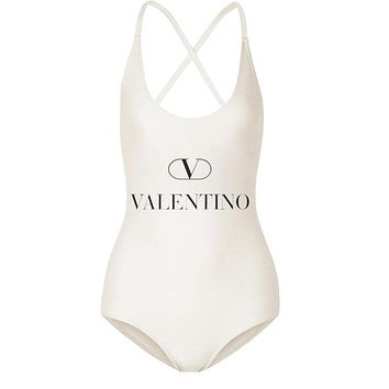 Victoria New fashion letter print straps one piece bikini women White