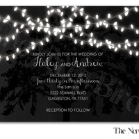 Dangling Lights on Rustic Grey Background with a Black Tree Design Printable Wedding Invitation and Matching RSVP Card