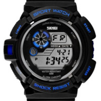 Blue Military S- Shock Multi Function Digital LED Quartz Watch Water Resistant Electronic Sport Watches
