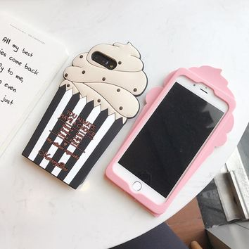 Hot Sale 3D Ice Cartoon Cream Case on for Iphone 6 6S 6 6S Plus 7 7Plus Back Cover Soft Silicon Rubber Case Capa+ Rope Capa