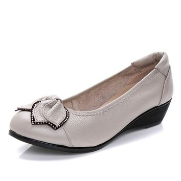 2016 Fashion Shoes Woman Genuine Lather Wedges Women Shoes Brand High Quality Women F