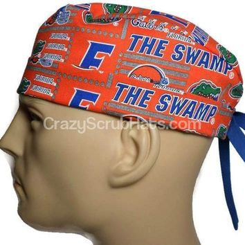 "Men's Fold-Up Cuffed or Un-Cuffed Surgical Scrub Hat Cap in Florida Gators ""The Swamp"""