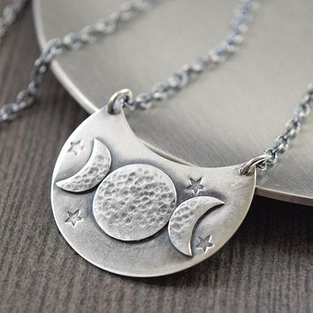 Sterling silver triple moon goddess necklace
