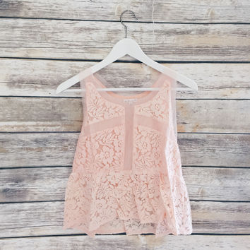 Peach Mesh Inset Lace Tank