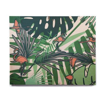 "bruxamagica ""Tropical Leaves Flamingo White"" White Green Animals Floral Digital Mixed Media Birchwood Wall Art"