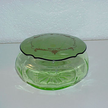 Vintage--Green Drepression Glass--Powder Jar--With Celluloid Lid--Vanity