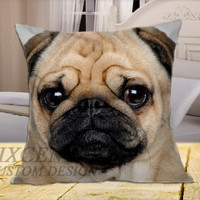 Pug Puppy on Square Pillow Cover