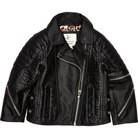 River Island Mini girls black leather-look biker jacket