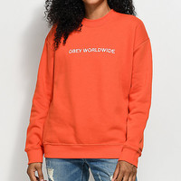 Obey Static Worldwide Orange Crew Neck Sweatshirt | Zumiez