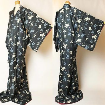 Beautiful K030504 Japanese Kyo-Yuzen Dark Navy Blue Komon Kimono Vintage