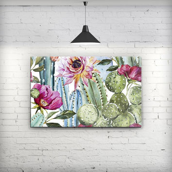 Vintage Watercolor Cactus Bloom - Fine-Art Wall Canvas Prints