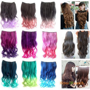 Ombre clip in Long Curly Hair Extension Multi-colored (NWG0HE60814)