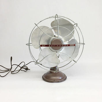 Westinghouse Fan, Antique Desk Fan, Vintage Fan, Mid Century Modern Fan, Mid Century Modern Office, Industrial Fan, Electric Fan