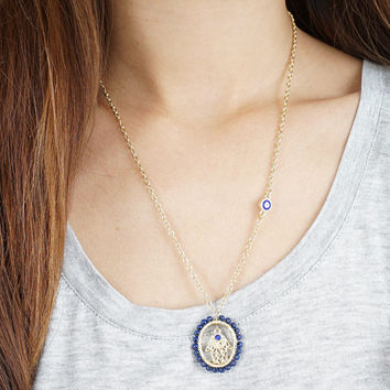 Hamsa Necklace, Gold Hamsa Hand Necklace, Evil Eye Necklace, Delicate Hand of Fatima Gold Tiny Hamsa Hand Necklace