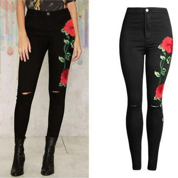 Ripped Holes Hot Sale Black Stretch Pants Jeans [73420636186]