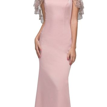 Blush Long Formal Dress with Sheer Embellished Fixed Shawl
