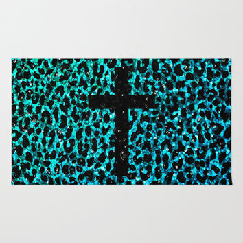 Aqua Sparkle Leopard Cross Area & Throw Rug by M Studio