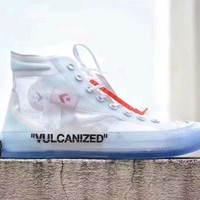 Converse & Off white new fashion women and men transparent canvas shoe White