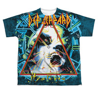 Def Leppard Men's  Hysteria Sublimation T-shirt White Rockabilia