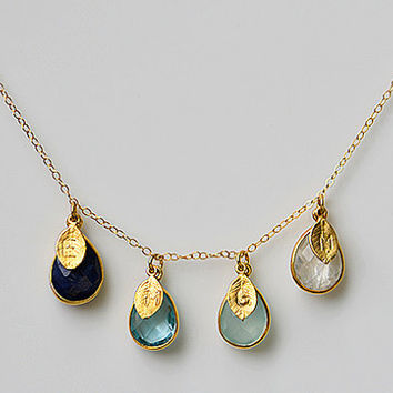 Personalized Natural Birthstone Necklace - Gemstone teardrop bezel station initial hand stamped gold four kids children - Danique Collection