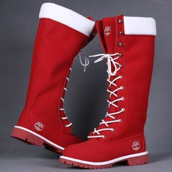 Timberland Rhubarb boots for Women Fashion Lace-Up Waterproof Leather Boots Shoes Red G