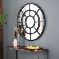 Notched Round Wall Mirror
