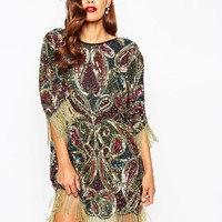 ASOS RED CARPET Paisley Embellished T Shirt Mini Dress With Fringe Sleeves