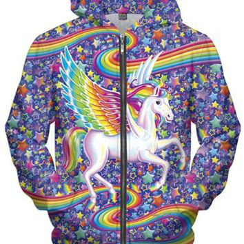 Animal Zipper Hoodies 2017 New Fashion 3D Cotton Flying Horse Pullover Men/Women Hooded Jacket Long Sleeve Casual Cotton S-5XL