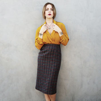 Autumn Colors Wool Pencil Skirt