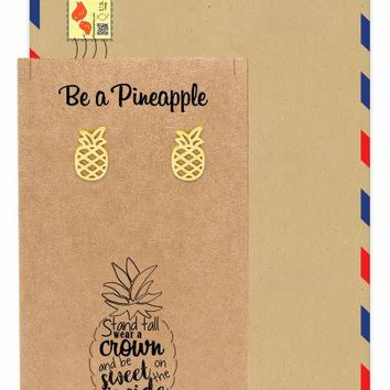 Kylie Pineapple Earrings, Inspirational and Motivational Quote with Greeting Card
