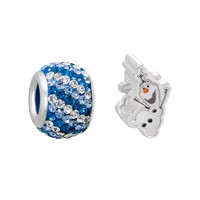 Disney's Frozen Crystal Sterling Silver Olaf Bead Set (Blue)