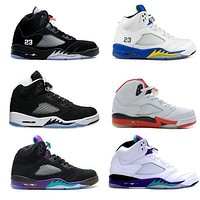 Air Jordan Grape Black Retro 5s Basketball Shoes Fire Red Laney White, Retro Shoes 5 V Oreo Og Silver With Box