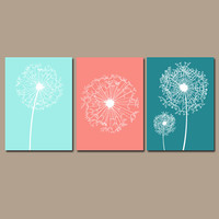 DANDELION Wall Art Coral Teal Aqua Bedroom Wall Art CANVAS or Prints Bathroom Wall Art Bedroom Pictures Flower Wall Art Dandelion Set of 3