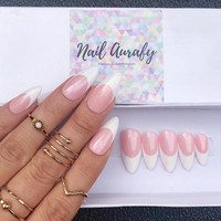 Miss Rosie French- Shimmery Rosie Pink and White French Tips/Press on Nails/Fake Nails/False Nails/Glue on Nails