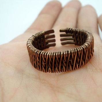 Ring for men, wire weaving ring, wire weaving jewelry, copper ring, wire wrapped ring, men jewelry, ring for men, men ring, copper wire ring
