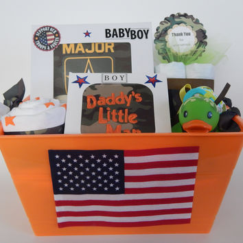 Military Family Baby Boy Shower Deluxe Gift Basket