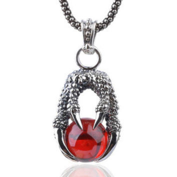 Ruby Red Pearl Dragon Clow Pendant for Men's Retro Fashion Jewelry (w/ LEATHER CORD)