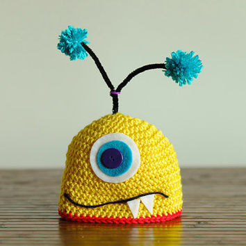 Monster Crochet Hat by ManyHappyHours on Etsy