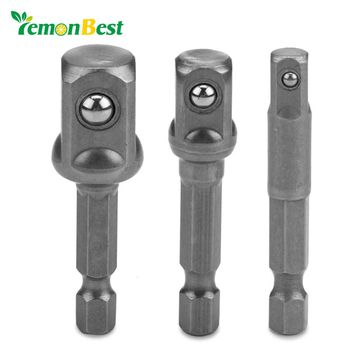 "Lemonbest 3pcs/set 1/4"" 3/8"" 1/2"" Socket Bit Adapter Hex Power Drill Bit Driver Bar Wrench Setter Driver Bit Adapter"