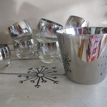 Roly Poly Glasses Hombre Glasses Mid Century Barware Madmen Ice Bucket and Glasses Bar Glassware Dorthy Thorpe Queens Lustreware Silver Fade