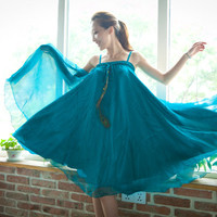 Fabulous Two Way Convertilbe Peacock Feather Decor Chiffon Tube Dress Long Skirt 5 Colors