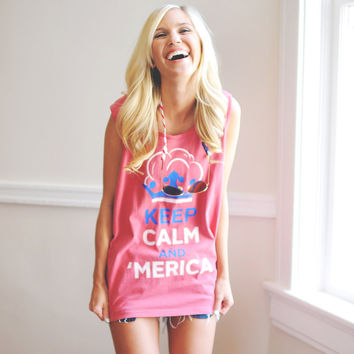 Unisex Keep Calm and 'Merica Tank Top in Red by Lauren James